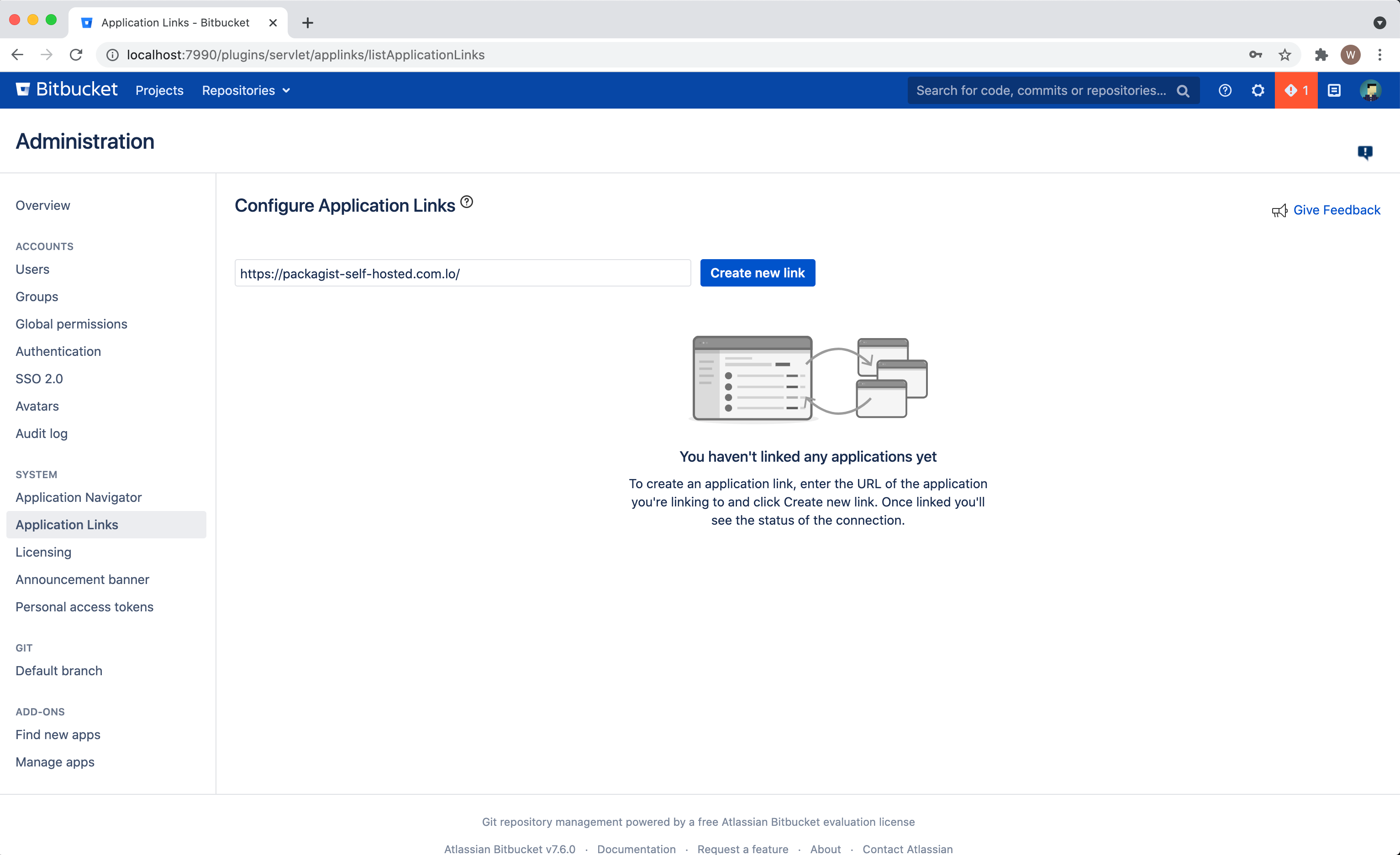 Bitbucket Configure Application Link